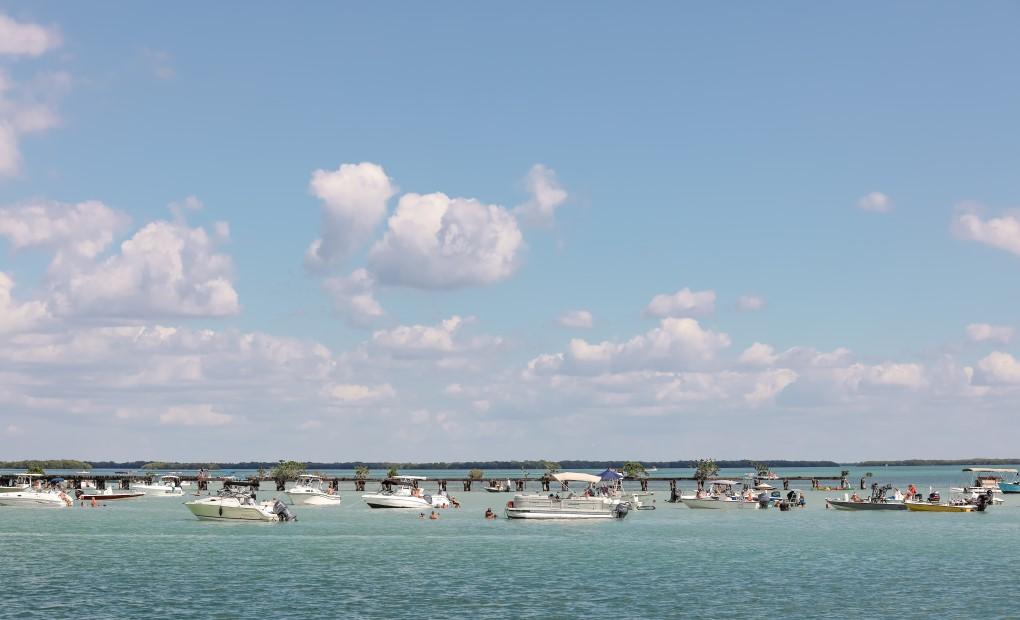 Beautiful sky and many boats off Boca Grande
